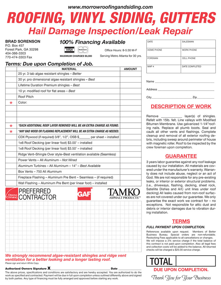 Roofing Invoice Example Militaryalicious